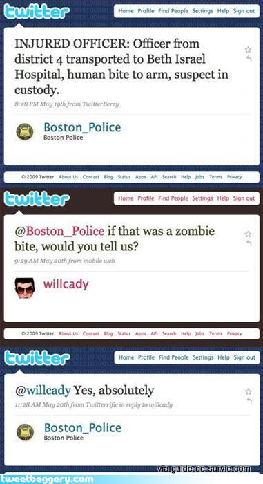 Police de boston et morsures de zombies