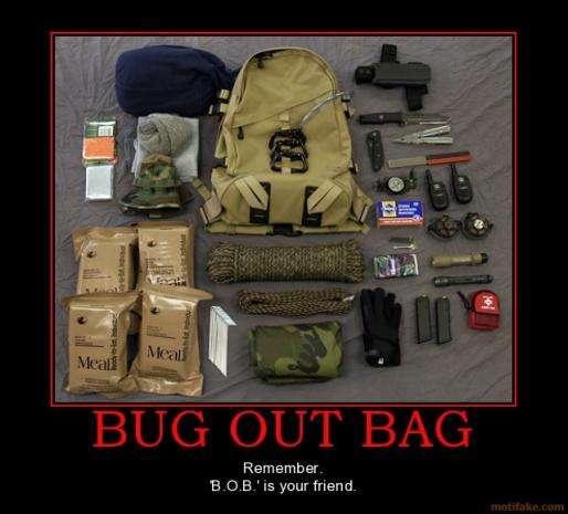 Bug out Bag, ou sac de survie.